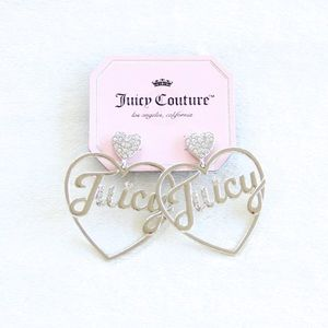 "Juicy Couture Silver Heart ""Juicy"" Earrings"